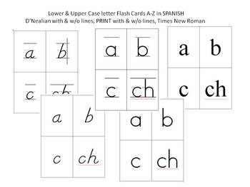 Flash Cards A-Z in Spanish SEVERAL FONTS