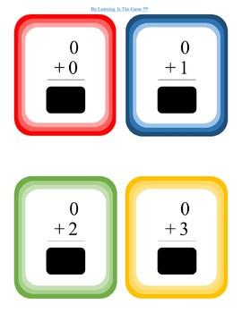 Flash Cards Addition 0-15 CCSS.Math.Content.K.OA.A.2