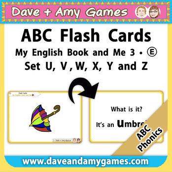 Flash Cards BIG E - ABC Phonics - My English Book and Me 3 - Set - U V W X Y Z