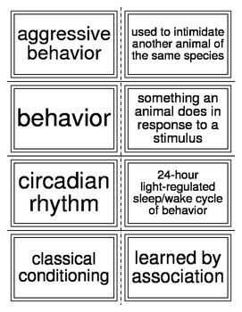 Flash Cards Covering Animal Behavior for Biology II