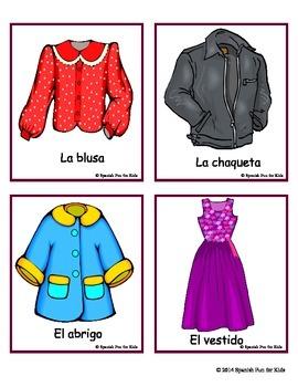 Flash Cards Las Prendas De Vestir Articles Of Clothing