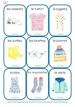 Flash Cards Les vêtements Clothes French English