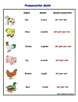 Flash Cards- Los animales de la granja (farm animals)