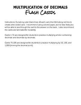 Flash Cards - Multiplying Decimals