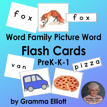 Flash Cards - Pre k-k-1 Mostly CVC Pictures and Words - Color & BW
