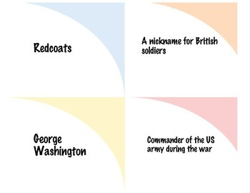 Flash Cards Sorting Activity: Major Events/People of the Revolutionary War