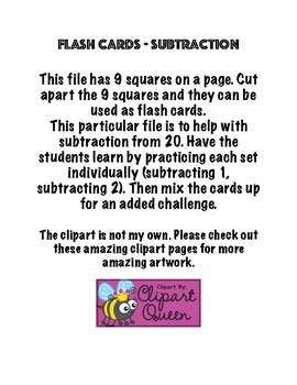 Flash Cards -Subtraction