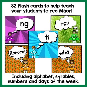 67 Te Reo Māori Sight Word Flash Cards with Syllables, Days of Week, Numbers