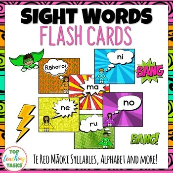 67 Te Reo Māori Sight Word Flash Cards with Syllables Days of Week Numbers