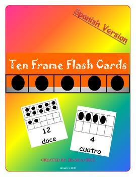 Flash Cards: Ten Frames 1-20 SPANISH