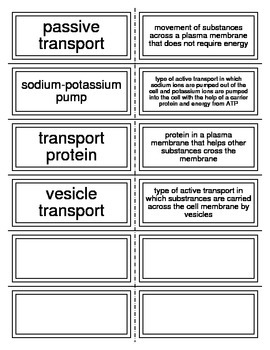 Flash Cards covering Cell Transport and Homeostasis
