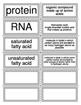 Flash Cards covering Matter and Organic Compounds