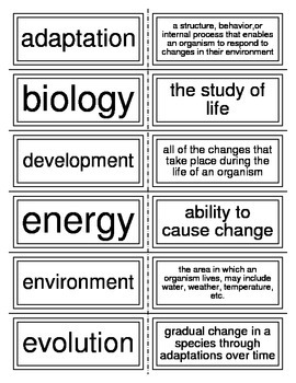 Flash Cards covering the Introduction to Biology I
