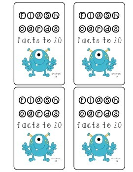 Flash Cards- facts to 20