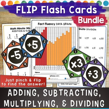 Flash Card Bundle for Addition Subtraction Multiplication and Division