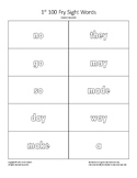 Flash Cards for Coloring - 1st 100 Fry Sight Words (Vowel Sound)