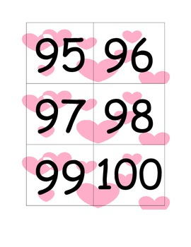 Flash Cards for Numbers 1-100 (Valentine's Theme)