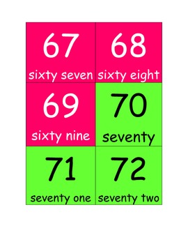 Flash Cards for Numbers 1-100 (solid color)
