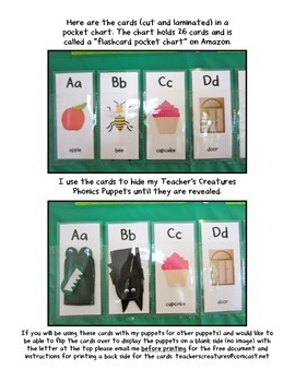 Flash Cards for a Pocket Chart (A-Z + Chunks and Long Vowels Included)