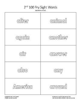 Flash Cards for coloring - 2nd 100 Fry Sight Words (Alphabetized)