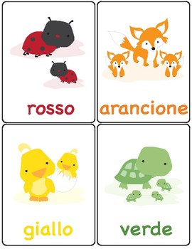 Flash Cards ~ i colori ~ Colors in Italian ~ Match Up Game