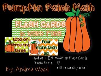 Flash Cards in Word Form - Addition Pumpkin Patch