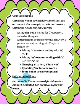 ★Fun Flash Cards- English Countable and Uncountable Nouns