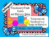 Flash Cards vocabulary memory game 2D shapes - vocabulario
