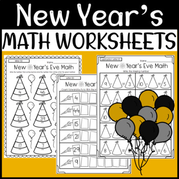 New Year's Eve Math Worksheets: Addition, Subtraction, Counting, Before & After