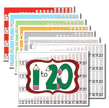 Desktop Number Lines: 1-14 & 1-20, Colors or Black & White