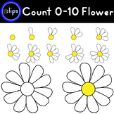 Counting 0-10 Flower Petals Daisy Yellow & B/W - 22 Clips
