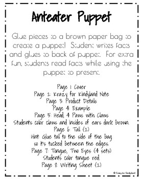 Anteater Puppet for Kindergarten (Zoo, Summer, Animal Research)