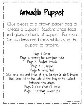 Armadillo Craft: Puppet (Zoo, Summer, Animal Research)