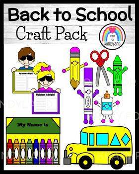 Back to School Craft Pack:Bus, Name Crayons, Supplies, Bright Future (First Day)