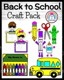 Back to School Craft Pack:Bus, Name Crayons, Supplies, Bri