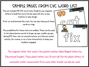 cvc activities with magnetic letters short vowel activities word building cards