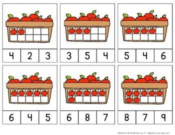 Counting Clip Cards 0-30 invisible math