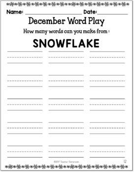 December Holiday Word Play