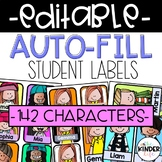 Editable Student Labels COLOR & B/W (Auto-Fill)