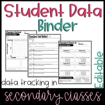 Editable Student Data Tracking Sheets | Secondary Student Data Tracking Binder