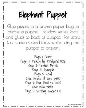 Elephant Craft for Kindergarten: Puppet (Zoo, Summer, Animal Research)