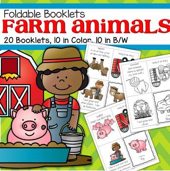 FARM ANIMALS Foldable Booklets for Preschool, Pre-K and Kindergarten
