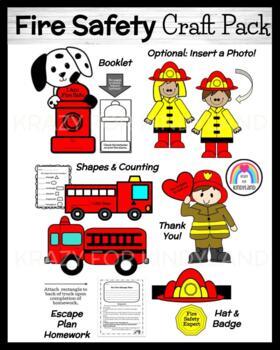 Fire Safety Craft Pack (Firefighter, Truck, Helmet, Shapes, Dog)