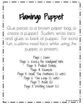 Flamingo Craft: Puppet (Zoo, Summer, Animal Research)