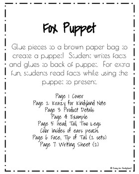 Fox Craft: Puppet (Zoo, Summer, Animal Research)