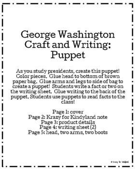 George Washington Craft and Writing: Puppet (USA, Presidents)