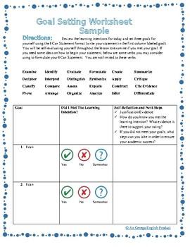 Flash Freebie! Goal Setting Worksheet for Any Subject