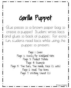 Gorilla Puppet (Zoo, Summer, Animal Research)