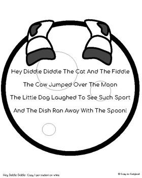 Hey Diddle Diddle Craft &  Activity for Kindergarten (Nursery Rhyme, Farm, Moon)