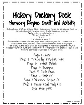 Hickory Dickory Dock Craft and Activity for Kindergarten (Nursery Rhyme, Mouse)